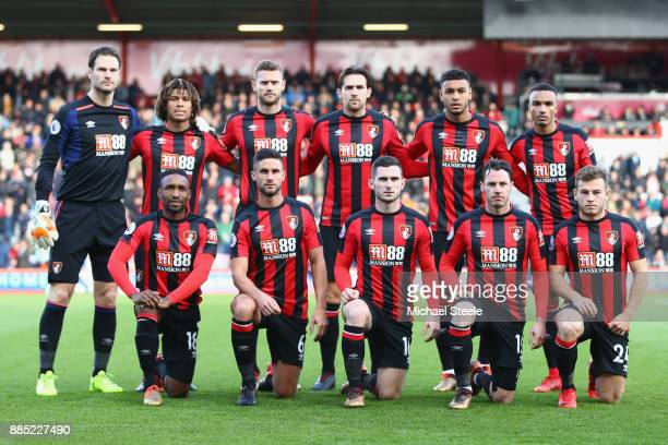 Bournemouth team line up during the Premier League match between AFC Bournemouth and Southampton at Vitality Stadium on December 3 2017 in...