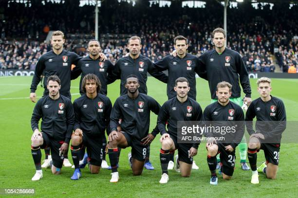 Bournemouth team lineup before the game during the Premier League match between Fulham FC and AFC Bournemouth at Craven Cottage on October 27 2018 in...