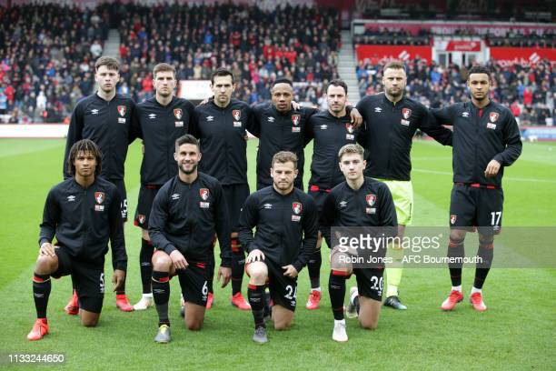 Bournemouth team lineup before the Premier League match between AFC Bournemouth and Manchester City at Vitality Stadium on March 02 2019 in...