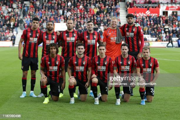 Bournemouth team lineup before the Premier League match between AFC Bournemouth and Norwich City at Vitality Stadium on October 19 2019 in...