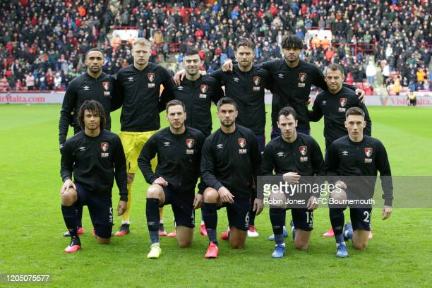 Bournemouth team lineup before the Premier League match between Sheffield United and AFC Bournemouth at Bramall Lane on February 09 2020 in Sheffield...
