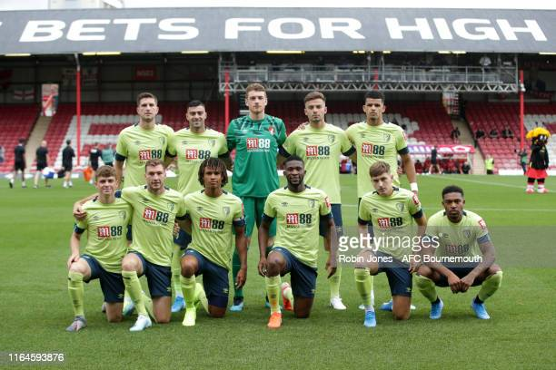 Bournemouth team line-up before the Pre-Season Friendly match between Brentford and AFC Bournemouth at Griffin Park on July 27, 2019 in Brentford,...