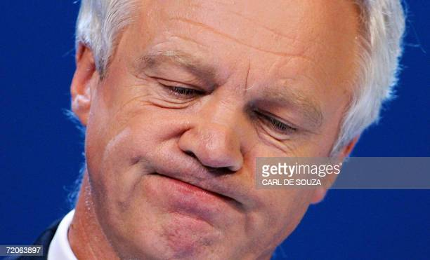 Bournemouth, UNITED KINGDOM: David Davis, British Shadow Home Secretary, addresses the second day of the Opposition Conservative Party Conference at...