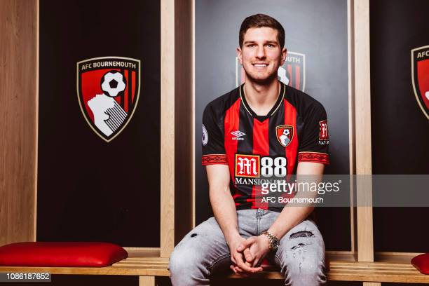 Bournemouth unveil new signing Chris Mepham at Vitality Stadium on January 22 2019 in Bournemouth England