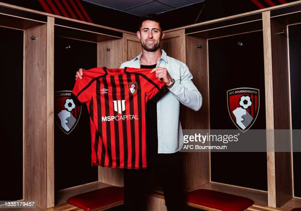Bournemouth unveil new signing Gary Cahill at Vitality Stadium on August 19, 2021 in Bournemouth, England.