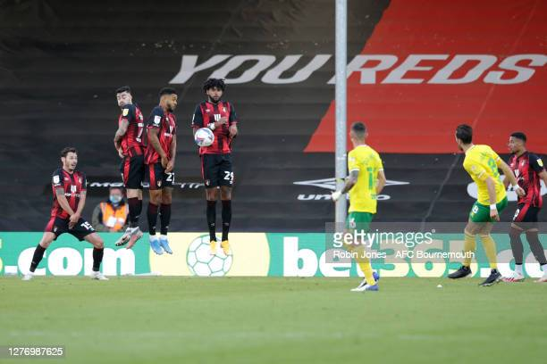 Bournemouth wall of Adam Smith, Diego Rico, Joshua King and Philip Billing block Mario Vrancic of Norwich City free-kick during the Sky Bet...