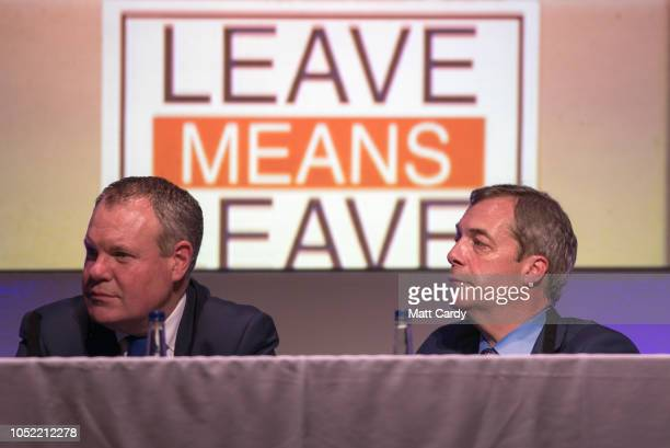 Bournemouth West MP Conor Burns and MEP and former leader of the UK Independence Party Nigel Farage speak at the 'Leave Means Rally' at the...
