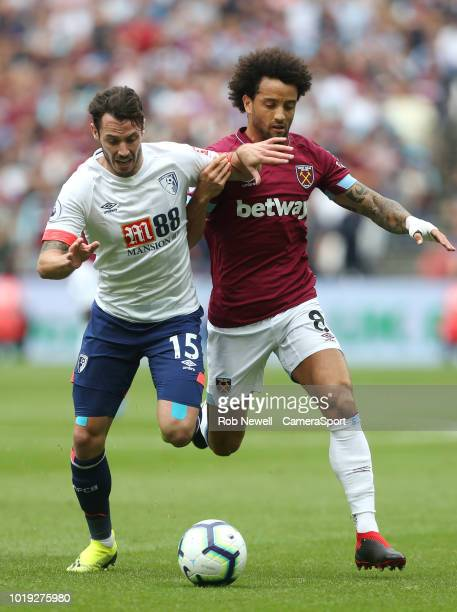Bournemouth's Adam Smith and West Ham United's Felipe Anderson during the Premier League match between West Ham United and AFC Bournemouth at London...