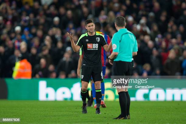 Bournemouth's Andrew Surman protests to Referee Kevin Friend during the Premier League match between Crystal Palace and AFC Bournemouth at Selhurst...