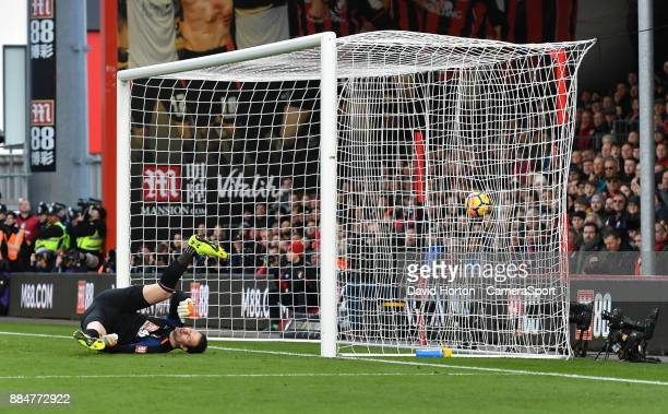 Bournemouth's Asmir Begovic fails to stop Southampton's Charlie Austin's goal during the Premier League match between AFC Bournemouth and Southampton...