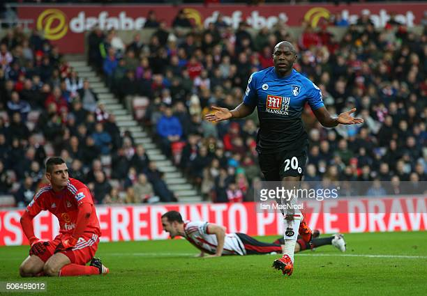 Bournemouth's Benik Afobe celebrates scoring during the Barclays Premier League match between Sunderland and Bournemouth at The Stadium of Light on...