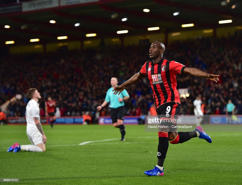 Bournemouth's Benik Afobe celebrates scoring his sides second goal during the Premier League match between AFC Bournemouth and Swansea City at Vitality Stadium on March 18, 2017 in Bournemouth, England.