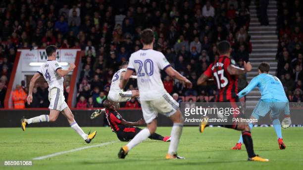AFC Bournemouth's Benik Afobe scores his side's third goal of the game during the Carabao Cup Fourth Round match at the Vitality Stadium Bournemouth