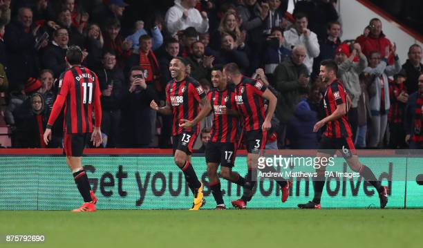 AFC Bournemouth's Callum Wilson celebrates scoring his side's fourth goal of the game and completing his hattrick during the Premier League match at...