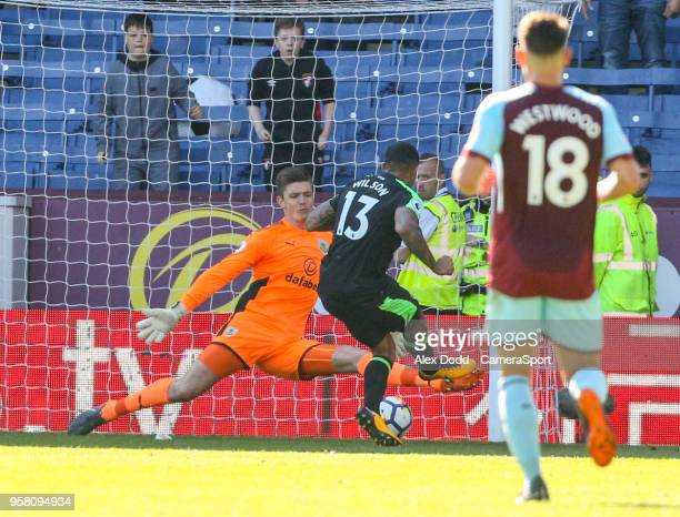 Bournemouth's Callum Wilson scores his side's second goal past Burnley's Nick Pope during the Premier League match between Burnley and AFC...