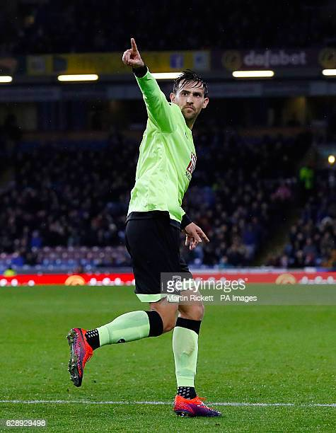 Bournemouth's Charlie Daniels celebrates scoring his side's second goal of the game during the Premier League match at Turf Moor, Burnley.