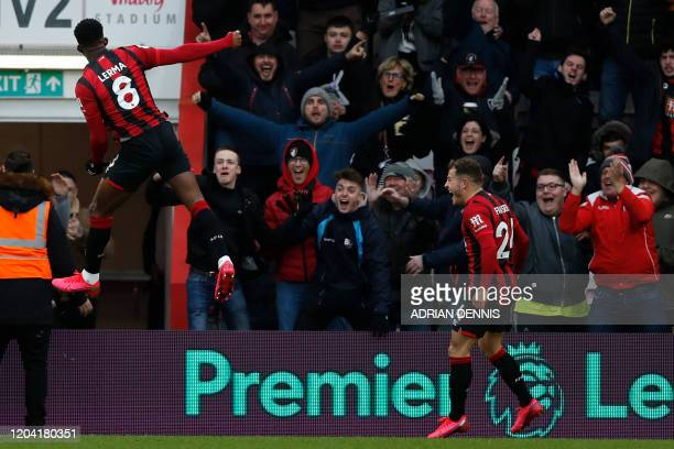Bournemouth's Colombian midfielder Jefferson Lerma celebrates after he scores his team's first goal during the English Premier League football match...