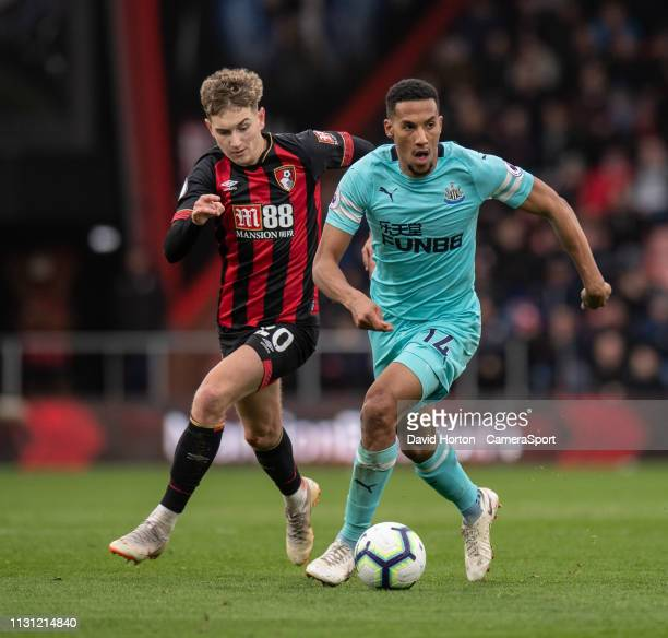 Bournemouth's David Brooks battles with Newcastle United's Isaac Hayden during the Premier League match between AFC Bournemouth and Newcastle United...