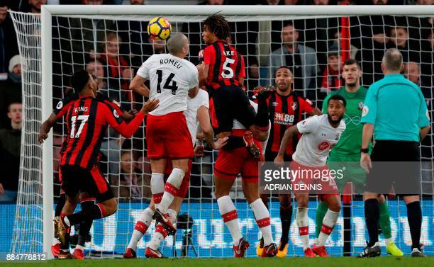 Bournemouth's Dutch defender Nathan Ake vies for the ball with Southampton's Spanish midfielder Oriol Romeu during the English Premier League...