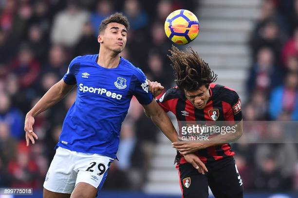 Bournemouth's Dutch defender Nathan Ake vies with Everton's English striker Dominic CalvertLewin during the English Premier League football match...