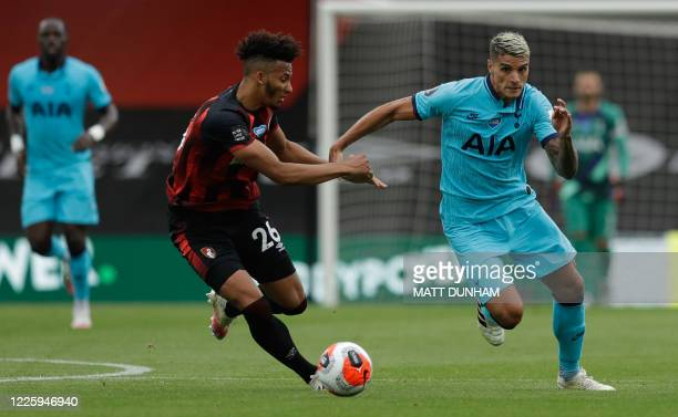 Bournemouth's English defender Lloyd Kelly vies for the ball with Tottenham Hotspur's Argentinian midfielder Erik Lamela during the English Premier...