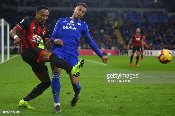 Bournemouth's English defender Nathaniel Clyne vies with Cardiff City's English midfielder Josh Murphy during the English Premier League football...