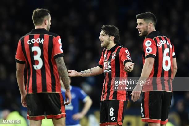 Bournemouth's English defender Steve Cook Bournemouth's Englishborn Irish midfielder Harry Arter and Bournemouth's South Africanborn English...