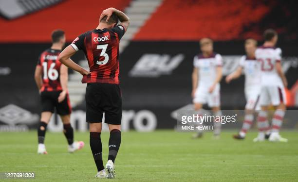 Bournemouth's English defender Steve Cook reacts after Southampton's English midfielder Che Adams scores the second goal during the English Premier...