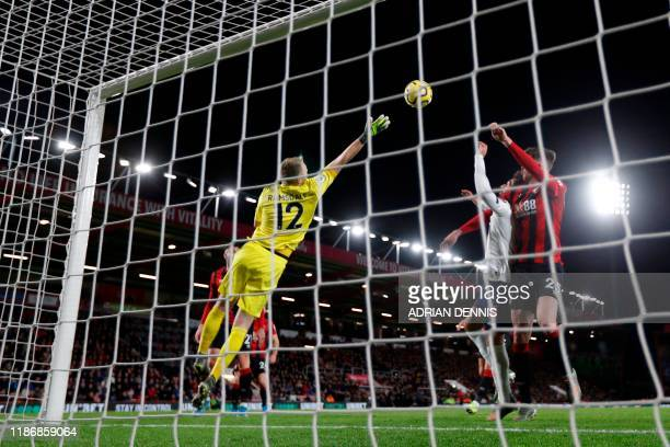 Bournemouth's English goalkeeper Aaron Ramsdale goes for a crossed ball during the English Premier League football match between Bournemouth and...