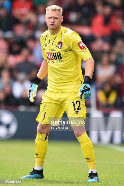 Bournemouth's English goalkeeper Aaron Ramsdale looks on during the English Premier League football match between Bournemouth and Sheffield United at...