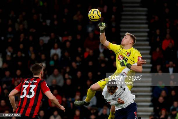 Bournemouth's English goalkeeper Aaron Ramsdale punches the ball away during the English Premier League football match between Bournemouth and...