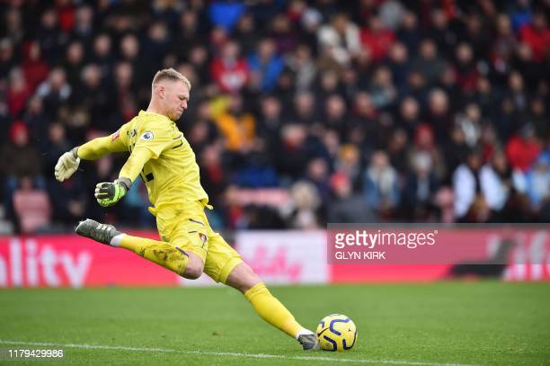 Bournemouth's English goalkeeper Aaron Ramsdale takes a goal kick during the English Premier League football match between Bournemouth and Manchester...