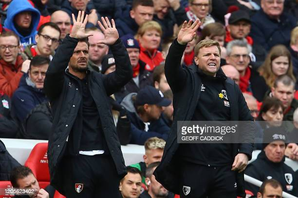 Bournemouth's English manager Eddie Howe gestures during the English Premier League football match between Liverpool and Bournemouth at Anfield in...