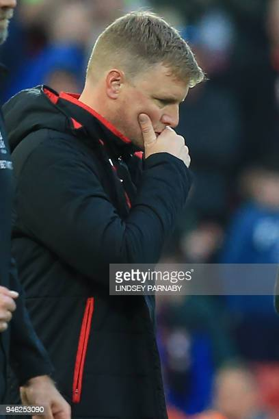 Bournemouth's English manager Eddie Howe ponders as he leaves after the English Premier League football match between Liverpool and Bournemouth at...