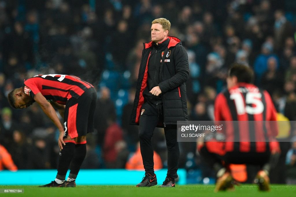Bournemouth's English manager Eddie Howe reacts at the end of the English Premier League football match between Manchester City and Bournemouth at the Etihad Stadium in Manchester, north west England, on December 23, 2017. / AFP PHOTO / Oli SCARFF / RESTRICTED TO EDITORIAL USE. No use with unauthorized audio, video, data, fixture lists, club/league logos or 'live' services. Online in-match use limited to 75 images, no video emulation. No use in betting, games or single club/league/player publications. /