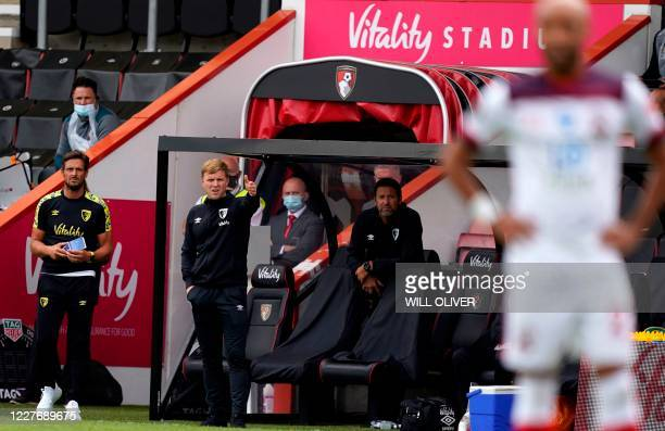 Bournemouth's English manager Eddie Howe reacts during the English Premier League football match between Bournemouth and Southampton at the Vitality...