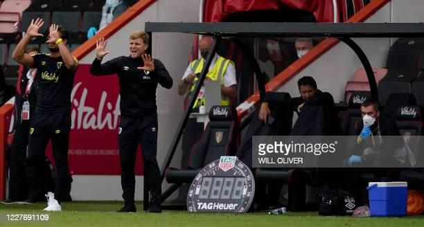 Bournemouth's English manager Eddie Howe rects during the English Premier League football match between Bournemouth and Southampton at the Vitality...