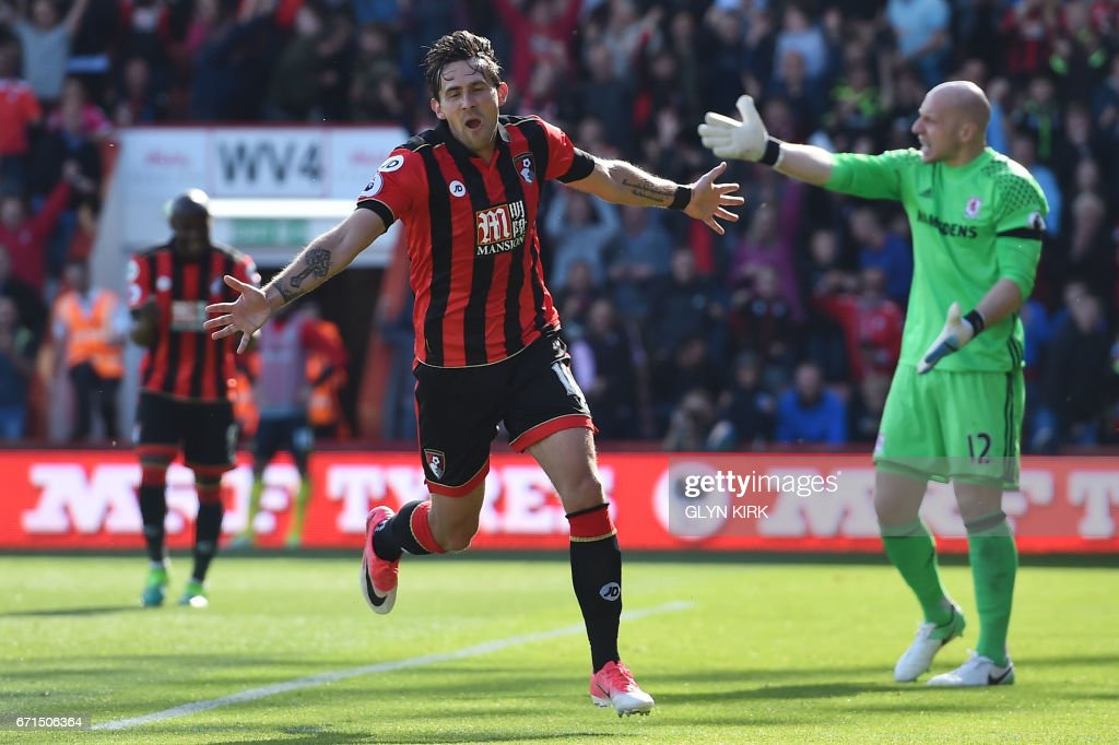 Bournemouth's English midfielder Charlie Daniels (C) celebrates after scoring their fourth goal during the English Premier League football match between Bournemouth and Middlesbrough at the Vitality Stadium in Bournemouth, southern England on April 22, 2017. / AFP PHOTO / Glyn KIRK / RESTRICTED TO EDITORIAL USE. No use with unauthorized audio, video, data, fixture lists, club/league logos or 'live' services. Online in-match use limited to 75 images, no video emulation. No use in betting, games or single club/league/player publications. /