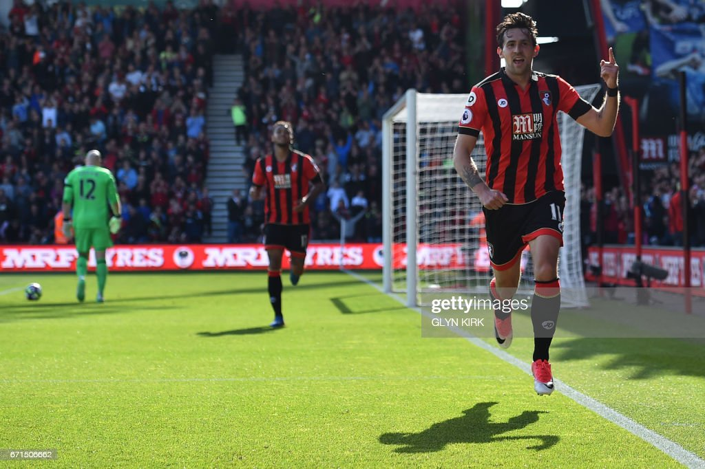 Bournemouth's English midfielder Charlie Daniels (R) celebrates after scoring their fourth goal during the English Premier League football match between Bournemouth and Middlesbrough at the Vitality Stadium in Bournemouth, southern England on April 22, 2017. / AFP PHOTO / Glyn KIRK / RESTRICTED TO EDITORIAL USE. No use with unauthorized audio, video, data, fixture lists, club/league logos or 'live' services. Online in-match use limited to 75 images, no video emulation. No use in betting, games or single club/league/player publications. /