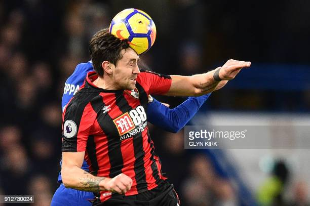 Bournemouth's English midfielder Charlie Daniels vies with Chelsea's Italian defender Davide Zappacosta during the English Premier League football...