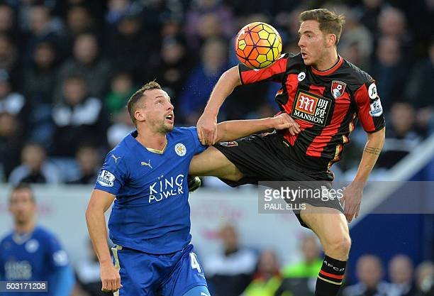 TOPSHOT Bournemouth's English midfielder Dan Gosling vies with Leicester City's English midfielder Danny Drinkwater during the English Premier League...