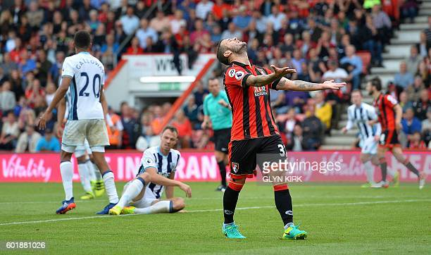 Bournemouth's English midfielder Jack Wilshere reacts in frustration after calling for the ball to make a run on goal but not being passed to during...