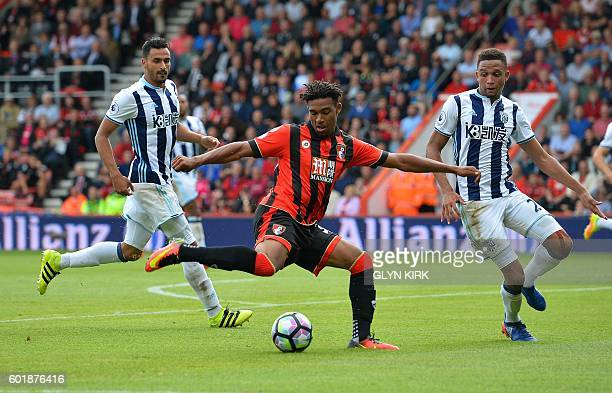 Bournemouth's English midfielder Jordon Ibe attempts a shot on goal during the English Premier League football match between Bournemouth and West...