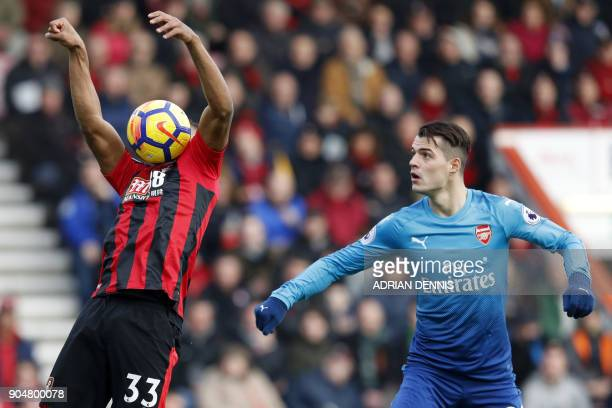 TOPSHOT Bournemouth's English midfielder Jordon Ibe is watched by Arsenal's Swiss midfielder Granit Xhaka during the English Premier League football...