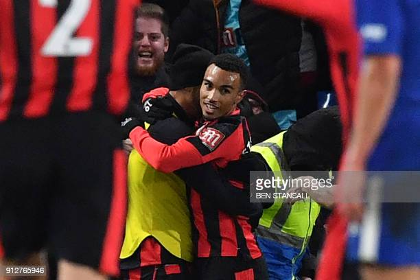 Bournemouth's English midfielder Junior Stanislas celebrates scoring the team's second goal during the English Premier League football match between...