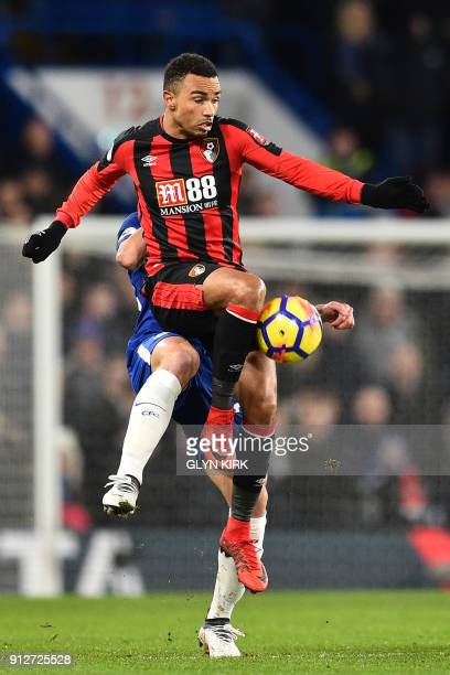 Bournemouth's English midfielder Junior Stanislas controls the ball during the English Premier League football match between Chelsea and Bournemouth...