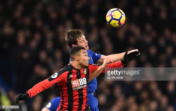 Bournemouth's English midfielder Junior Stanislas vies with Chelsea's Spanish defender Cesar Azpilicueta during the English Premier League football...