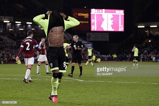 Bournemouth's English striker Benik Afobe reacts after having a goal disallowed during the English Premier League football match between Burnley and...