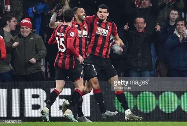 Bournemouth's English striker Callum Wilson celebrates scoring his team's third goal during the English Premier League football match between...