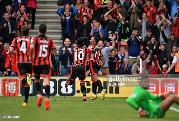 Bournemouth's English striker Callum Wilson celebrates scoring his team's first goal during the English Premier League football match between...